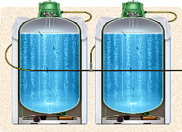 Gas tanks connected by cascade